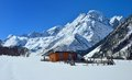 Old hut in mountains this is caucasus spring Royalty Free Stock Photo