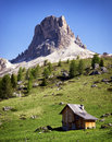 Old hut wooden at the european alps Stock Photos