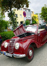 Old ifa door cabrio produced in ddr with open ho garching germany vintage cars at garching traditional parade red shiny gdr the Royalty Free Stock Image