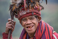 Old ifugao man in national dress next to rice terraces ifugao the people in the philippines banaue january unknown Royalty Free Stock Photo