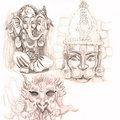 Old indian gods - drawing Royalty Free Stock Image