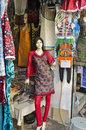 Old indian mannequins near clothes shop in delhi street india Royalty Free Stock Photography