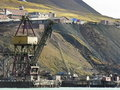 Old industrial port in svalbard Stock Image