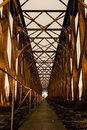 Old industrial railway railroad iron bridge center perspective i Royalty Free Stock Photo