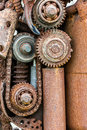 Old industrials machinery. grunge corroded gear wheels and other Royalty Free Stock Photo