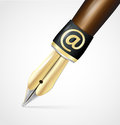 Old ink pen nib with at sign vector Royalty Free Stock Photography