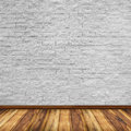 Old interior with white brick wall Royalty Free Stock Photo