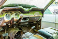 Old Interior of Wrecked Green Car Royalty Free Stock Photo