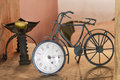 Old iron bicycle clock Royalty Free Stock Photo