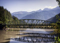 Old iron bridge in austria Stock Photo