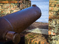 Old iron cannon in portuguese castle fortress forte do castelo pointing to the amazon river belem amazonia brazil Royalty Free Stock Photography