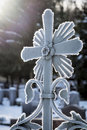 Old iron cross in winter Royalty Free Stock Photo