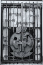 Old iron locked gate door Royalty Free Stock Image