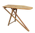 Old ironing board isolated wooden clothes on white Royalty Free Stock Photography