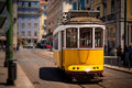 Old isbon yellow tram on the street Royalty Free Stock Photo