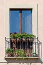 Old italian balcony with flowers Royalty Free Stock Photo