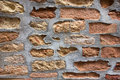 Old italian brickwork with repairs in venice italy Royalty Free Stock Images