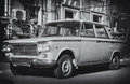 Old italian car black and white image with made in italy Royalty Free Stock Photo