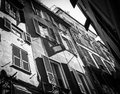 Old Italian streets walls and windows black and white photo in G Royalty Free Stock Photo