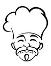 Old japanese chef with a goatee black and white sketch of male and moustache wearing traditional white toque head only Stock Images