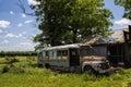 Old Junkyard Rusty School Bus Royalty Free Stock Photo