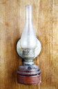 Old kerosene lamp on wooden wall Royalty Free Stock Image