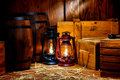 Old Kerosene Lantern Lamps in Antique Warehouse Royalty Free Stock Photo
