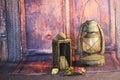 Old Kerosene Lantern Lamps Royalty Free Stock Photo