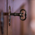 Old key in cabinet Royalty Free Stock Photo