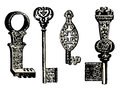 Old key collection vintage illustration Stock Images