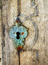 Old keyhole closeup macro detail of mediaeval lock Stock Photography