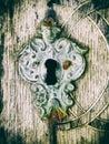 Old keyhole closeup macro detail of mediaeval lock Royalty Free Stock Photography