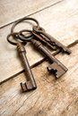 Old keys with ring on wooden background Stock Images