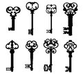 Old keys set decorative elements retro style Stock Photo