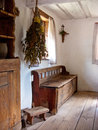 Old kitchen corner of an retro of a peasant house located at wdzydze kiszewskie open air museum poland Stock Image