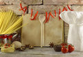 Old kitchen still life with cook book Royalty Free Stock Photo