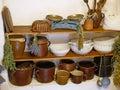 Old kitchen utensils, mugs, bowls, kitchen scales. Royalty Free Stock Photo