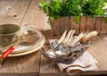Old kitchenware on the wooden table Royalty Free Stock Images