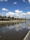 Old kyoto from kamo river bank on a sunny day japan Stock Photo