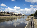 Old kyoto from kamo river bank on a sunny day japan Stock Photography