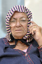 Old lady on phone Stock Photos