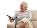 Old lady remote control Royalty Free Stock Photo