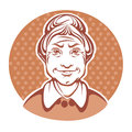 Old lady vector portrait of lovely grandmother Royalty Free Stock Images