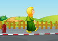 An old lady walking along the road illustration of Stock Photography