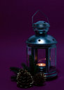 Old lantern with candle and cones Royalty Free Stock Photo