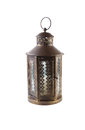 Old lantern photo of antique brass japanese isolated on white background Stock Image