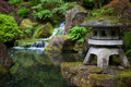 Rock lantern in portland japanese garden Royalty Free Stock Photo