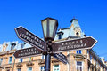 Old lantern with street signs to famous Deribasovskaya street Royalty Free Stock Photo