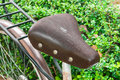 Old leather bicycle saddle cracked Royalty Free Stock Photos