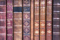 Old leather bound book spines Royalty Free Stock Images